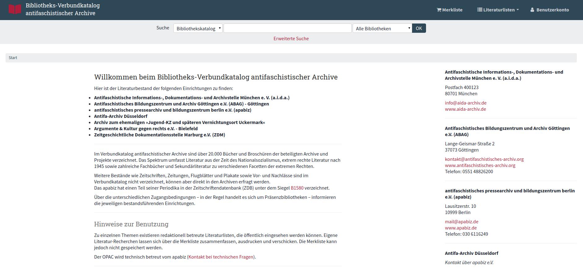 Der Verbundkatalog ist ab sofort unter bibliothek.antifa-archiv.org zu finden.
